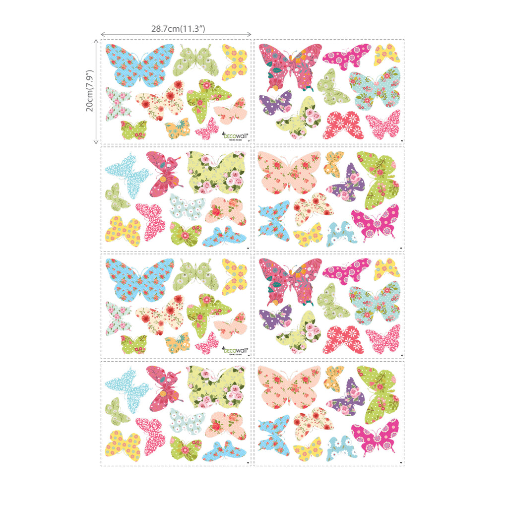76 Patterned Butterflies Wall Stickers (Small)