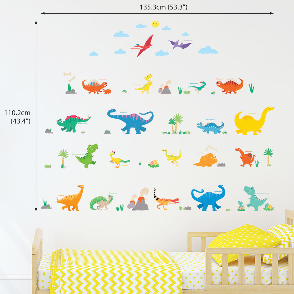 Colourful Dinosaur Wall Stickers (Small)