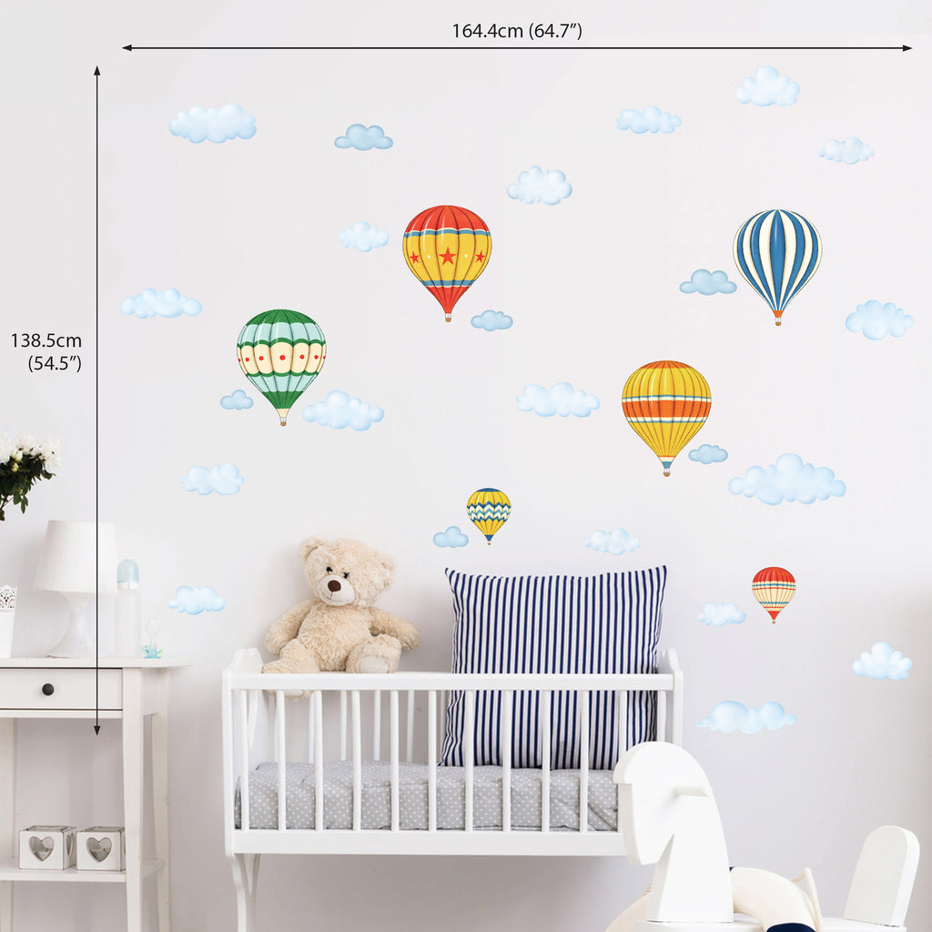 Vintage Hot Air Balloons and Clouds Wall Stickers (Small)