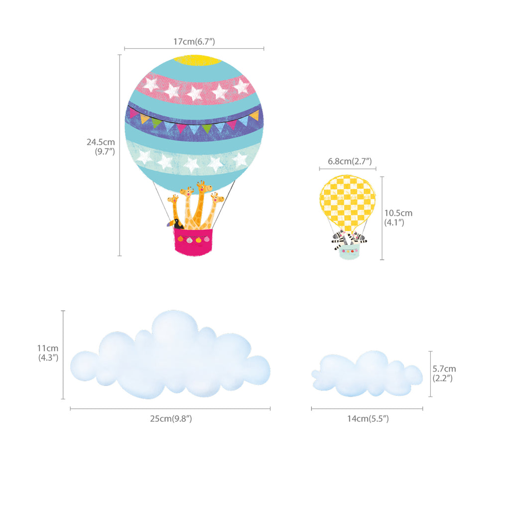 Hot Air Balloons and Clouds Wall Stickers (Small)