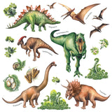 Glow in the Dark Watercolour Dinosaur Wall Stickers - DECOWALL