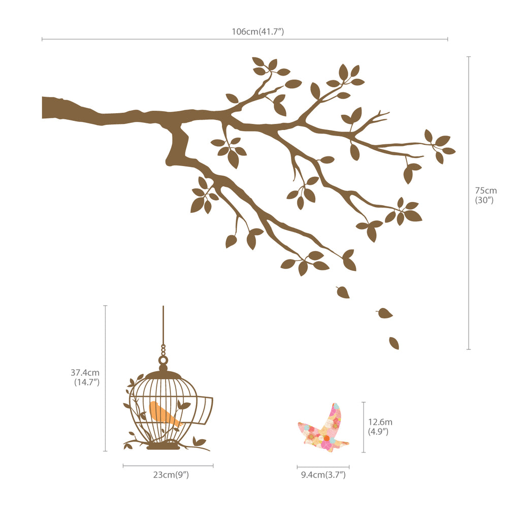 Birds on Tree Branch with Bird Cages Wall Stickers (Brown)