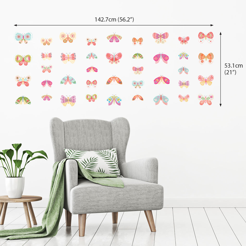40 Pastel Coloured Butterflies Wall Stickers