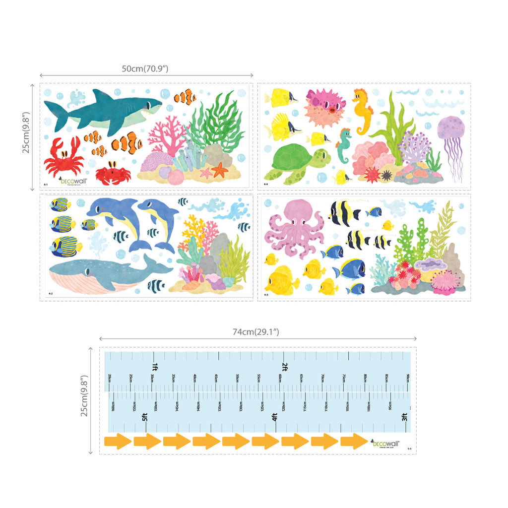 Under the Sea Height Chart Wall Stickers