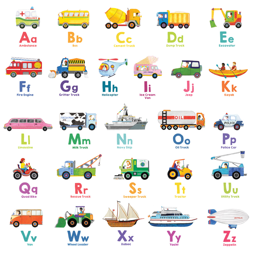 Transport Alphabet Wall Stickers