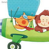 Animal Biplanes with Hang Glider Wall Stickers