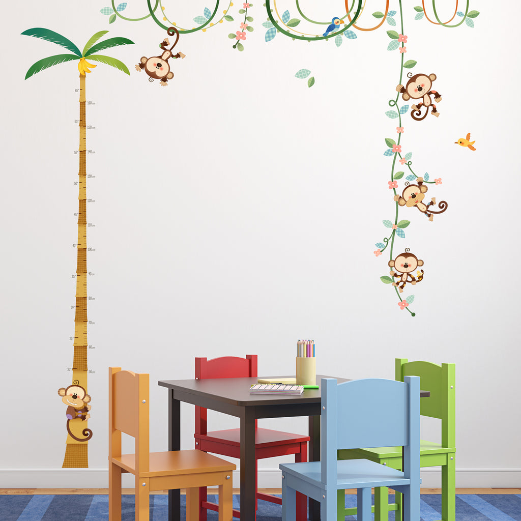 Monkey Height Chart Wall Stickers