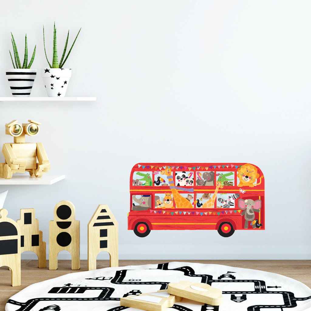 Double Decker Bus with Animals Wall Stickers