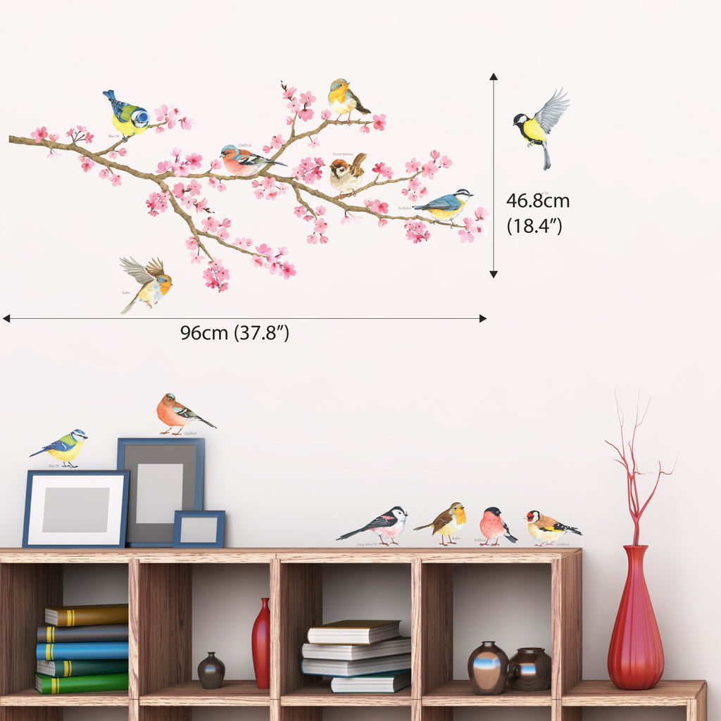Cherry Blossom & Garden Birds Wall Stickers