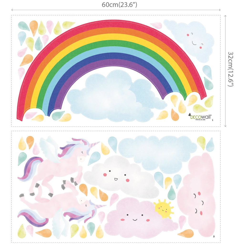 Rainbow and Unicorn Wall Stickers