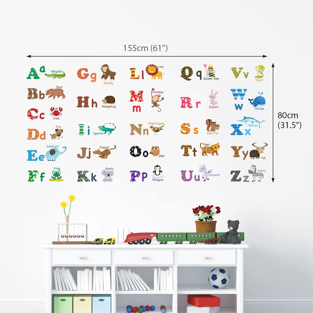 Alphabet Animals Wall Stickers (Large) - DECOWALL