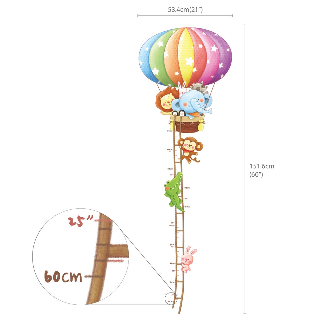Animal Hot Air Balloons and Height Chart Wall Stickers