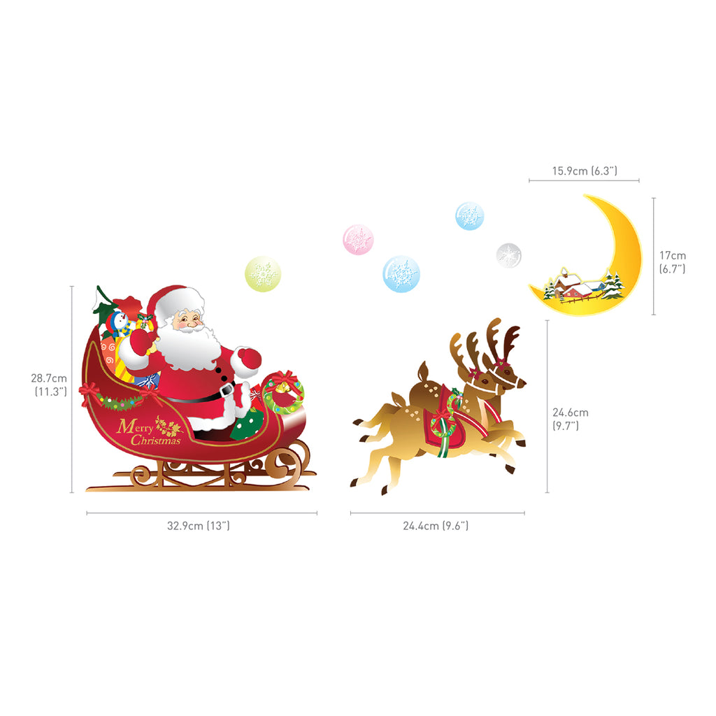 Christmas Flying Santa Claus and Rudolph Wall Stickers