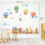 Animal Train & Hot Air Balloons Nursery Wall Stickers (XLarge)
