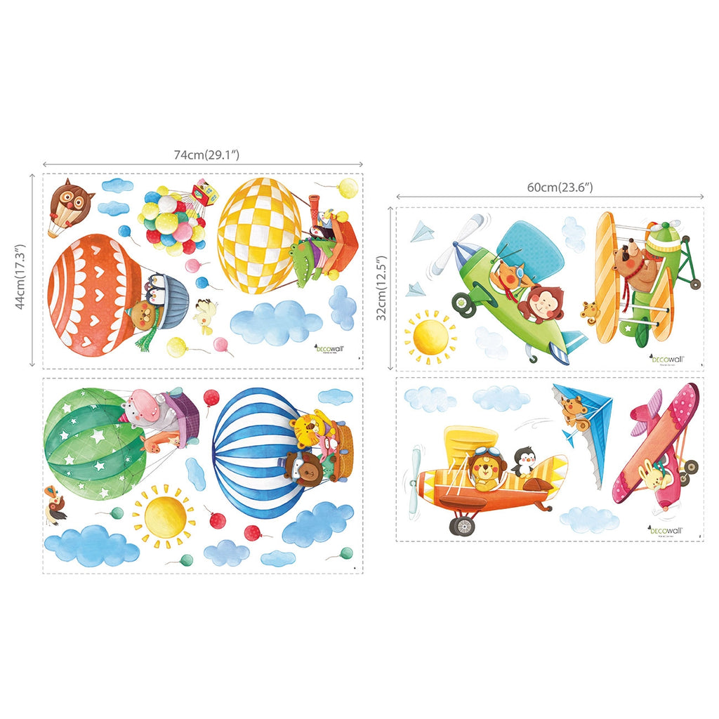 Animal Hot Air Balloons & Biplanes Wall Stickers (XLarge)