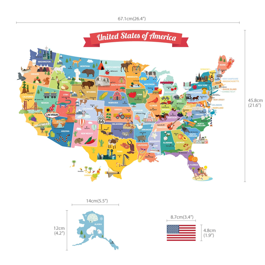 USA Map Wall Stickers
