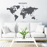 German Modern Grey World Map Wall Stickers (Xlarge)