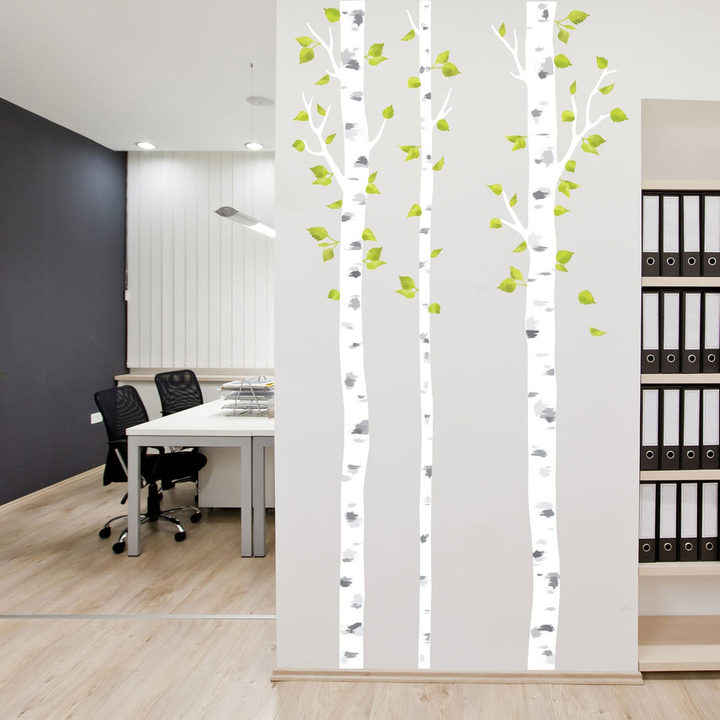 White Birch Trees Fabric Wall Stickers