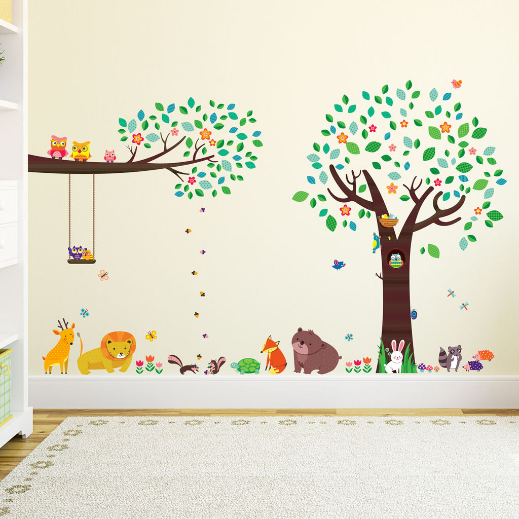 Large Tree with Animal Friends & Branch with Owls Wall Stickers