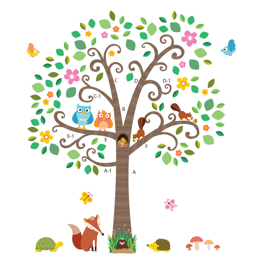 Large Scroll Tree & Animals Wall Stickers