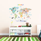 German Animal World Map Wall Stickers (Large)