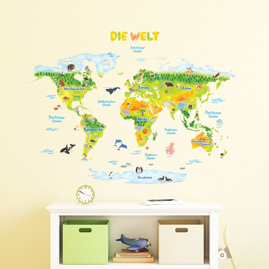 German Geological World Map with Animals Wall Stickers (Large)
