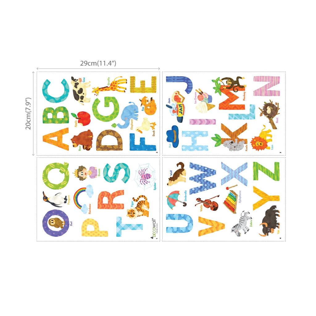 Watercolour Animal Alphabet Wall Stickers (Small)