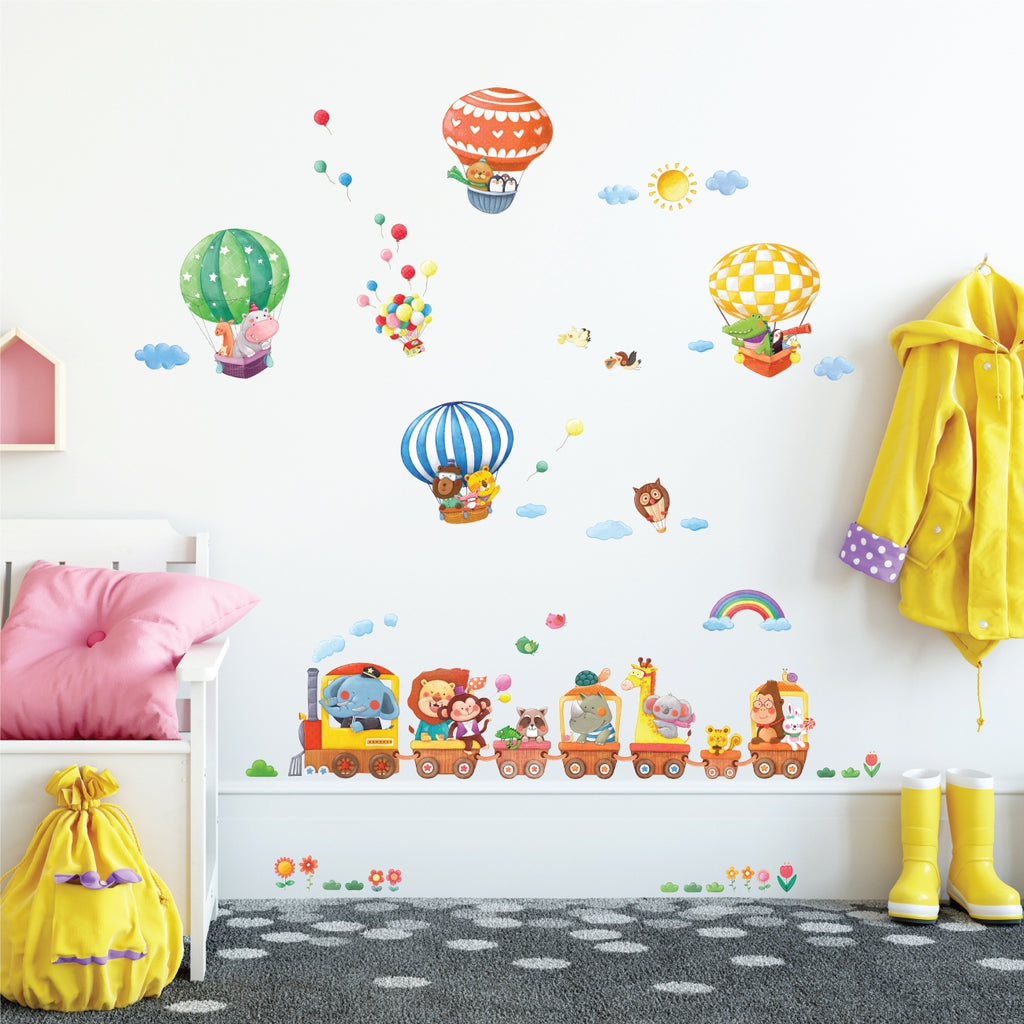 Animal Train and Hot Air Balloons  Wall Stickers (Small)