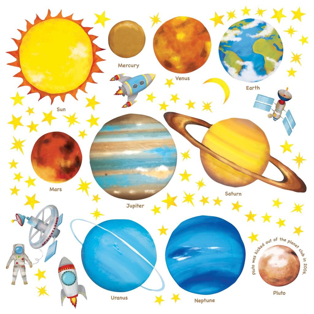 Planets in the Space Wall Stickers (Small)