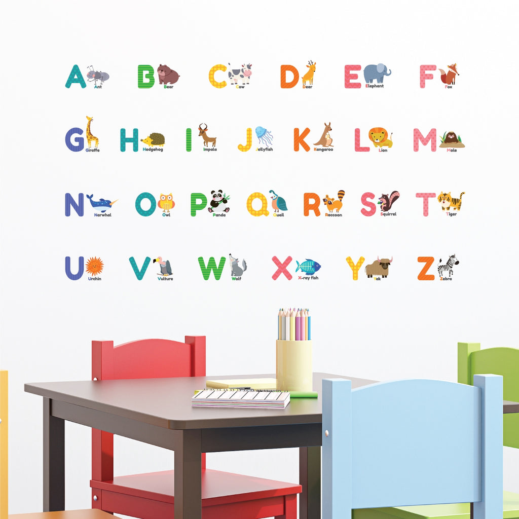 Colourful Animal Alphabet Wall Stickers (Small)