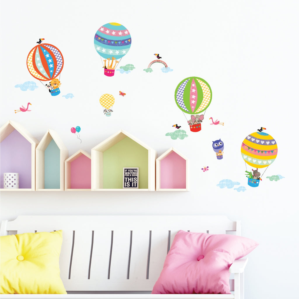 Hot Air Balloons and Animals Wall Stickers (Small)