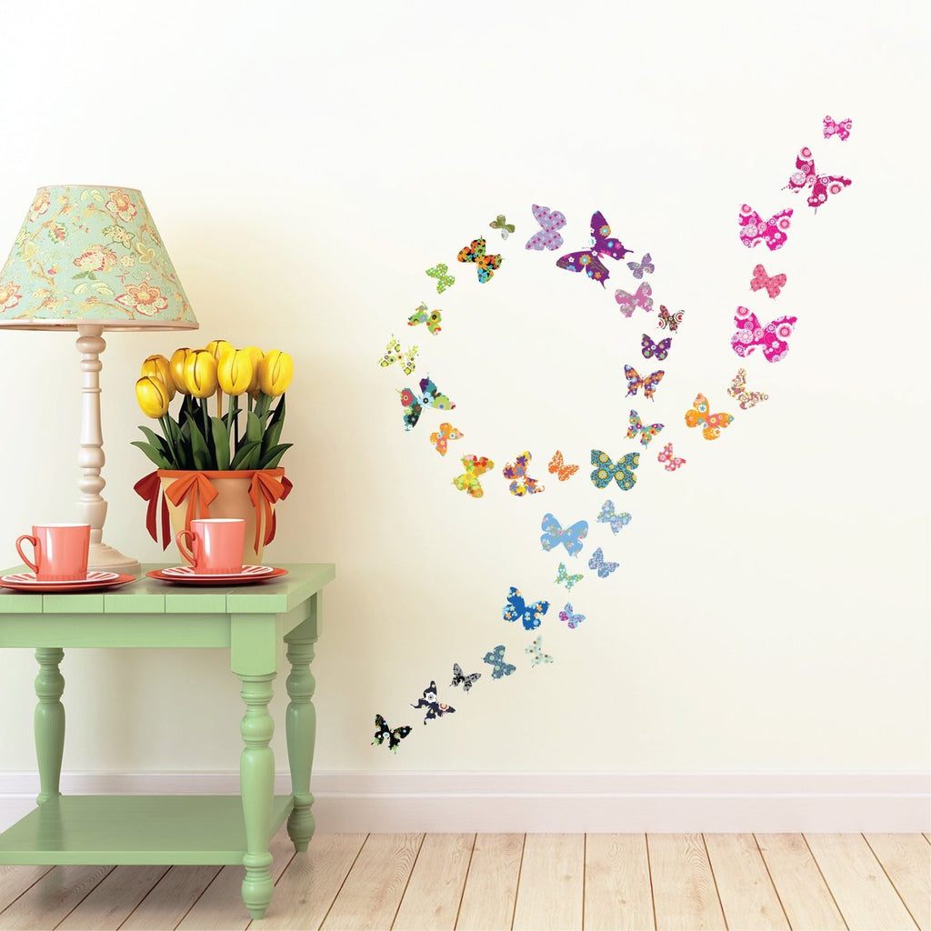 38 Colourful Butterflies Wall Stickers (Small) - DECOWALL