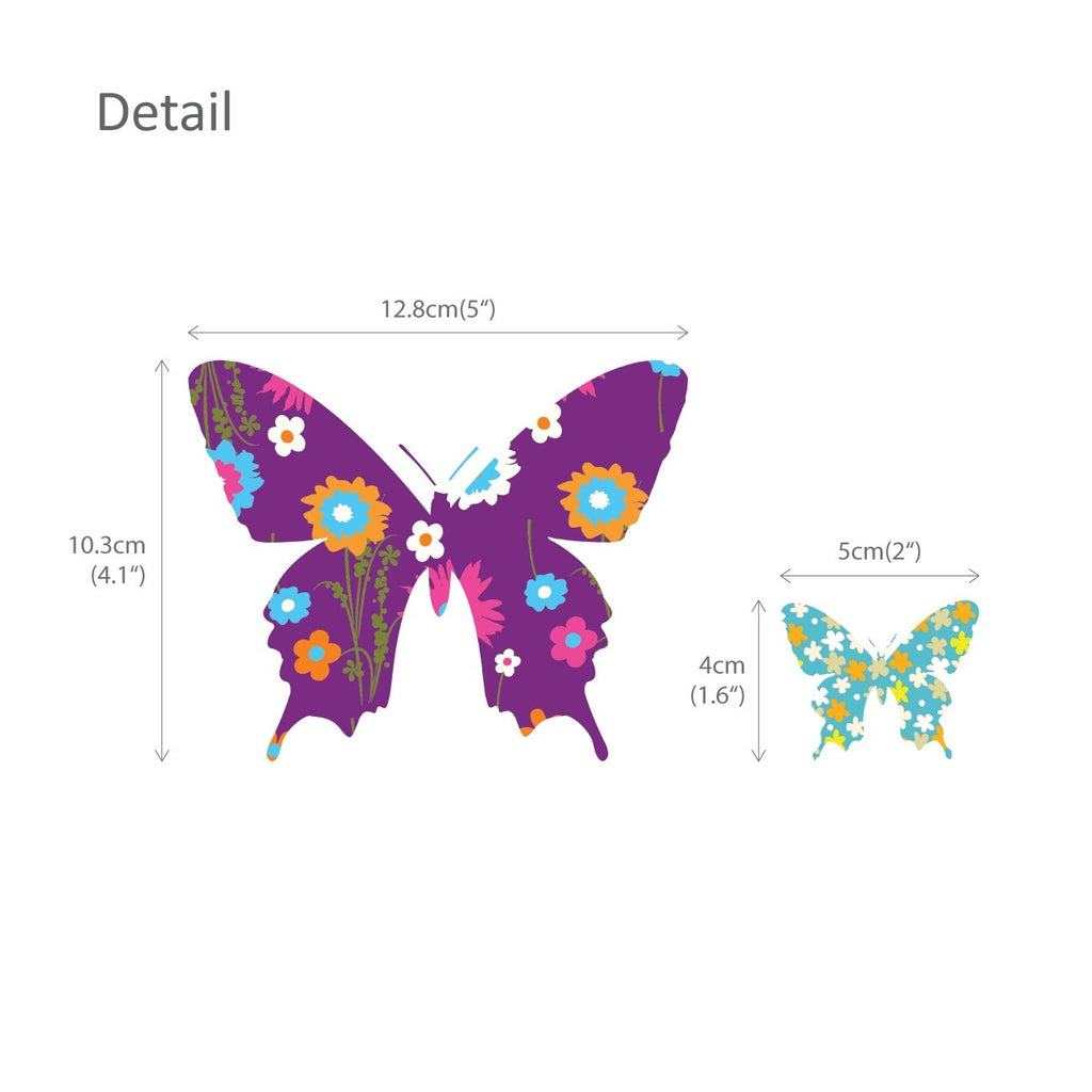 38 Colourful Butterflies Wall Stickers (Small)