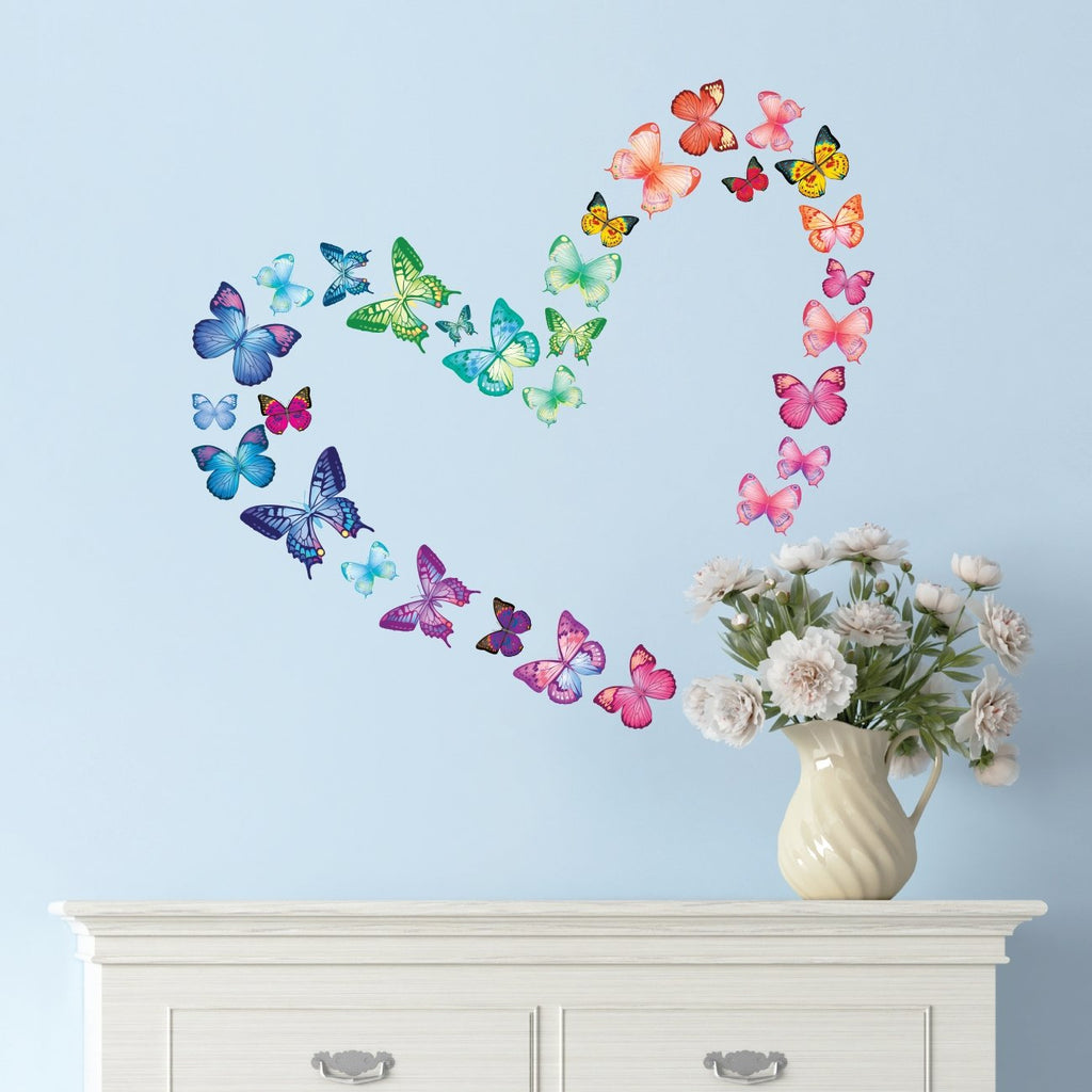 30 Vibrant Butterflies Wall Stickers (Small) - DECOWALL