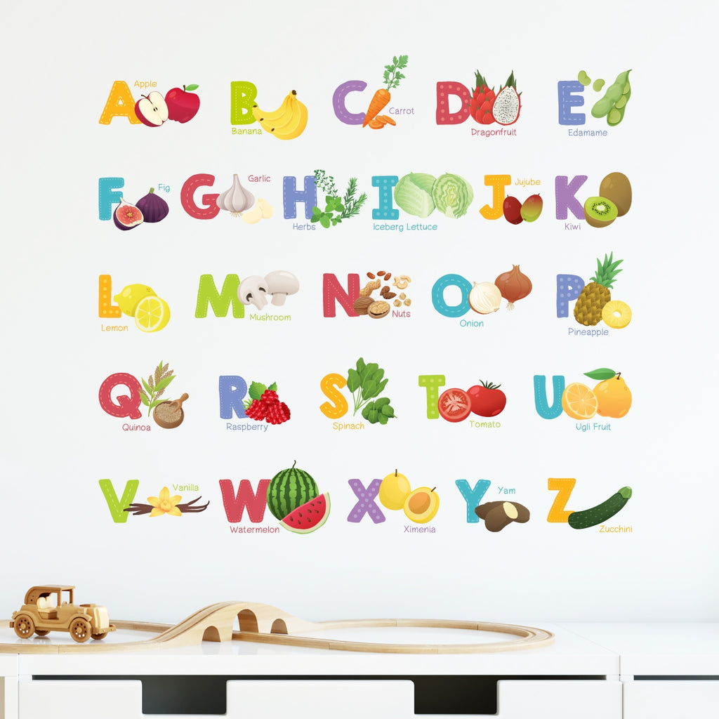 Fruit and Vegetable Alphabet Wall Stickers