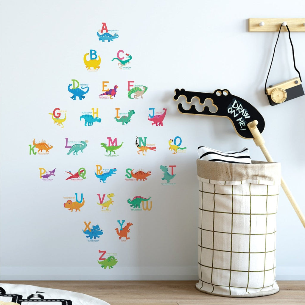A-Z Dinosaur Alphabet Wall Stickers (Small) - DECOWALL