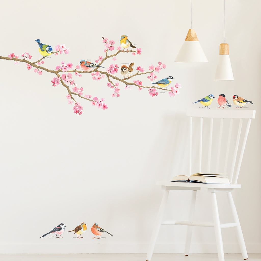 Cherry Blossom & Garden Birds Wall Stickers(Small)