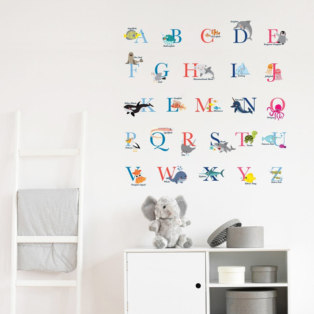 A-Z Ocean Alphabet Wall Stickers - DECOWALL