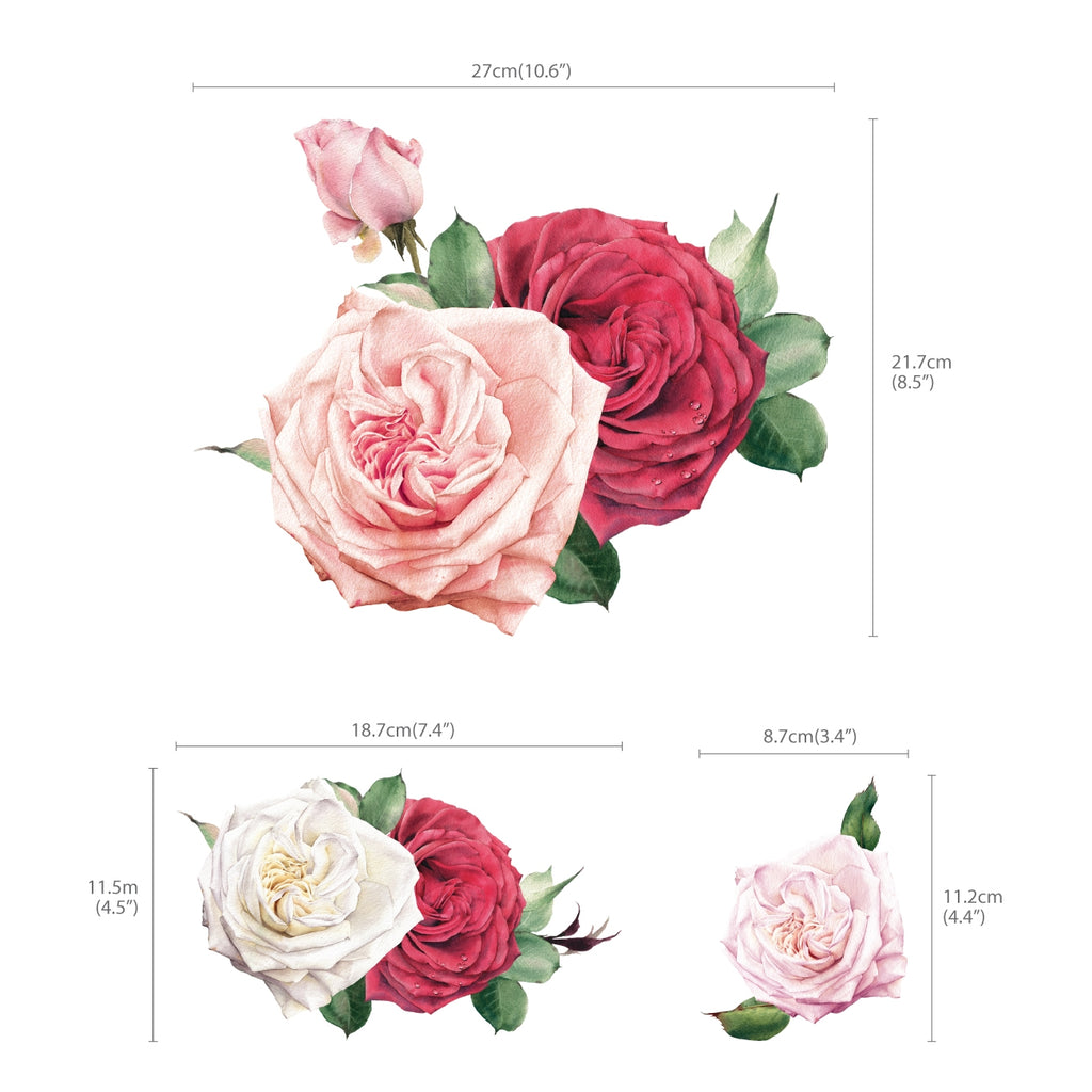 Watercolour Rose Wall Stickers