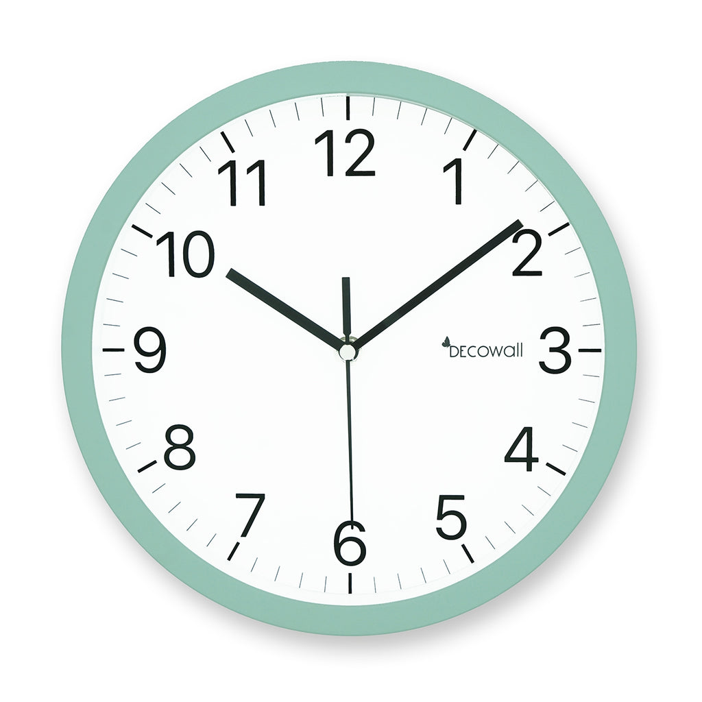 Silent Modern Matt Wall Clock 25cm-Mint Green