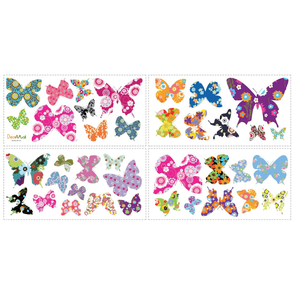 38 Colourful Butterflies Nursery Wall Stickers - DECOWALL