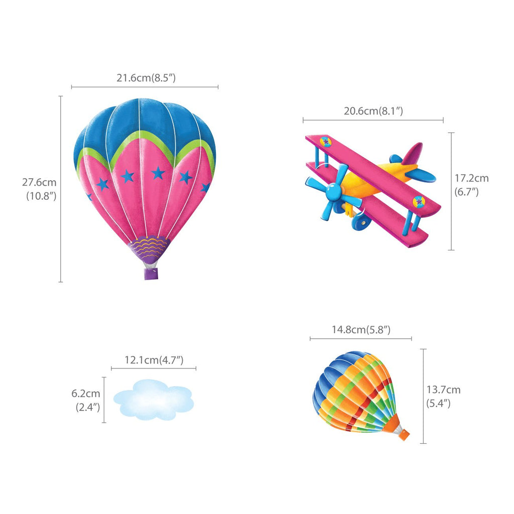 6 Hot Air Balloons & 5 Biplanes in the Sky Wall Stickers - DECOWALL