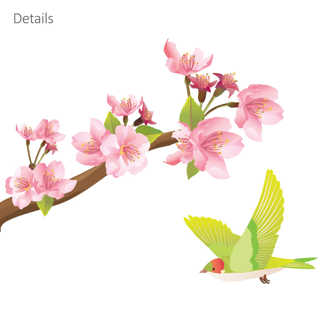 Cherry Blossoms & Birds Wall Stickers