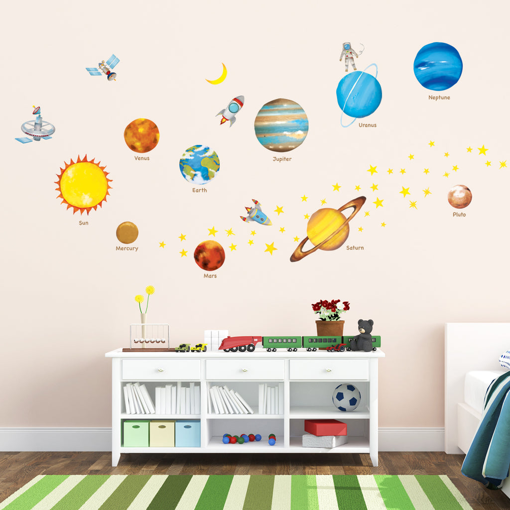 Planets in the Space Nursery Wall Stickers