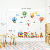 Animal Train & Hot Air Balloons Nursery Wall Stickers