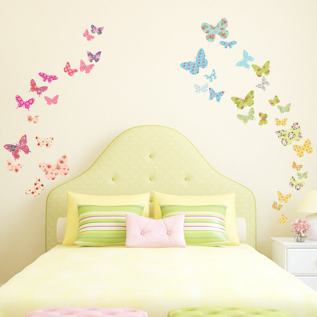 Patterned Butterflies Nursery Wall Stickers For Girls