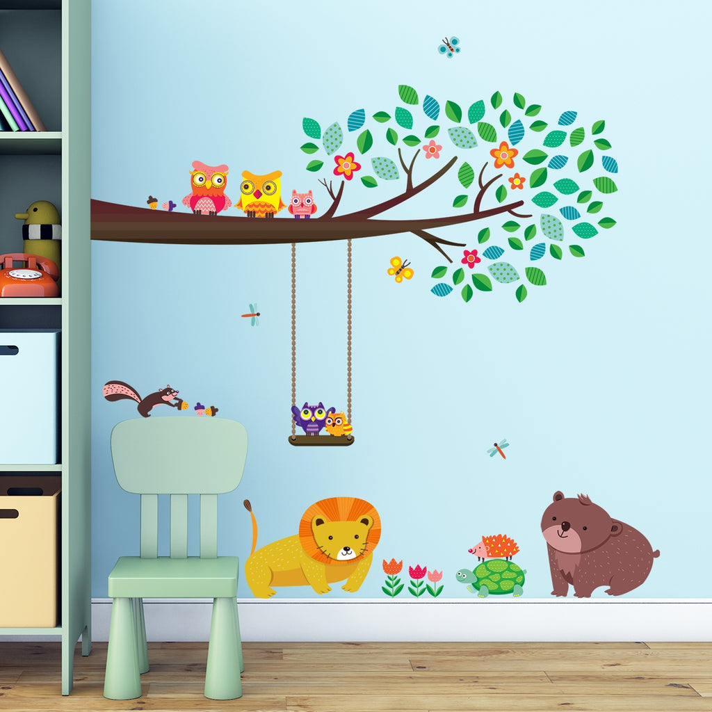 Large Branch & Owls Wall Stickers