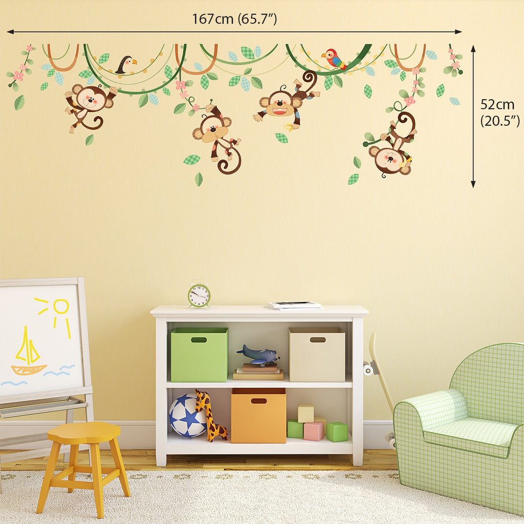 Monkeys on Vine Wall Stickers