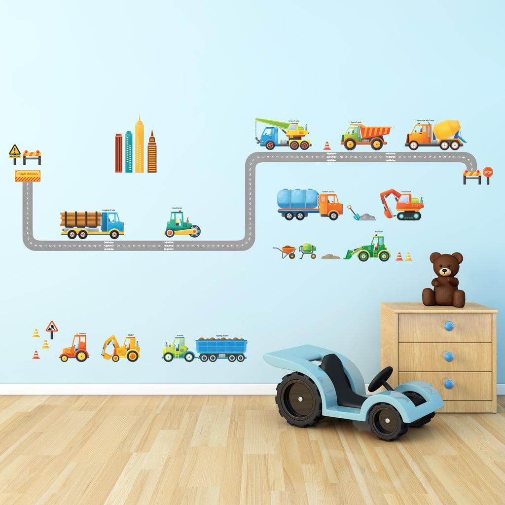 Construction Vehicles Wall Stickers