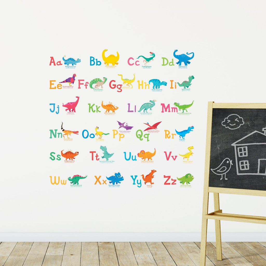 A-Z Dinosaur Alphabet Wall Stickers - DECOWALL